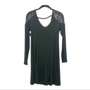 American Eagle ribbed knit lace detail dress